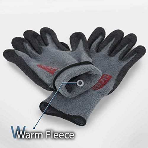 DEX FIT Warm Fleece Work Gloves NR450, Comfort Spandex Stretch Fit, Power Grip, Lightweight & Thin, Durable Water Based Nitrile Rubber Coating, Machine Washable, Grey Large 3 Pairs