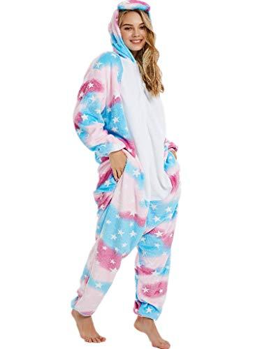iSZEYU Adult Onesie Pajamas for Women Girls Unicorn Onsie Pijama Costumes M Blue