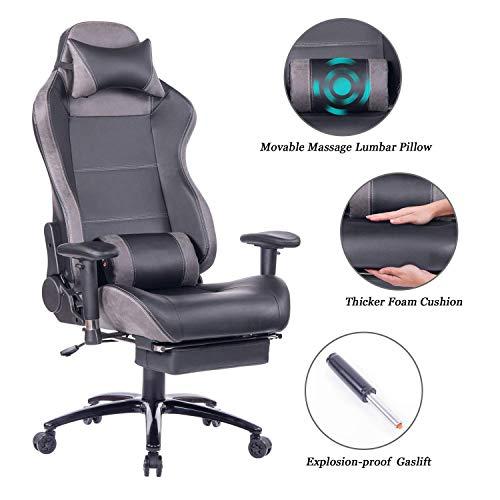 Wolmics Massage Gaming Stuhl mit Fußstütze Matel Base-Memory Foam Verstellbare Rückenlehne Liegender PC Computer Video Gamer Stuhl Racing Game Stühle PU Leder Schreibtisch Bürostuhl 8263 Grau