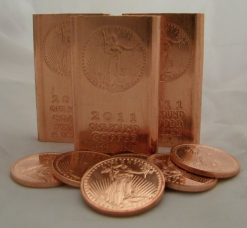 1 Pound (Flat Style) Copper Bar + 5 (Five) 1 Ounce Copper Rounds @ Great Price