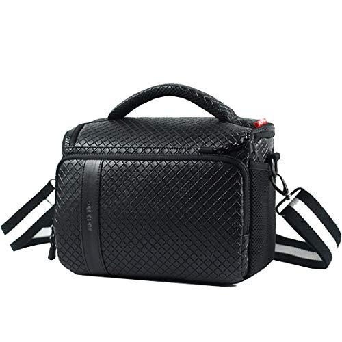 MCHENG Synthetisches Leder Kameraetui Camera Case Bag Schultertasche für Systemkamera Kompakte SLR/DSLR Regenschutz Kameratasche, Schwarz mit Grau Innenausstattung
