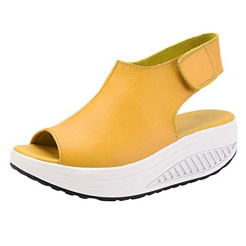 DAFENP Damen Sandalen Sommer Plateau Keilabsatz Leder Sandaletten Bequeme Peep Toe Wedges LX908-2-Yellow-EU38