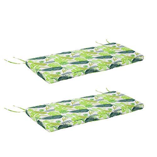Outsunny Set di 2 Cuscini per Dondolo e Panchine in Poliestere per Arredamento da Esterno e Casa, 120x50x5cm Verde
