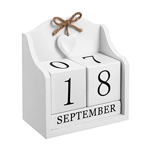 Wakauto Calendario Perpetuo in Legno con Giorni Blocchi di Calendario in Legno Calendario...