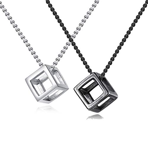 INRENG Men's Stainless Steel Simple Square Hollow Cube Charm Pendant Minimalist Couple Necklace