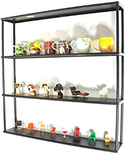 """Mango Steam Wall-Mounted Steel Shelving Unit - 36"""" H x 36"""" W x 6"""" D - Black - for kitchen, storage, or display use."""