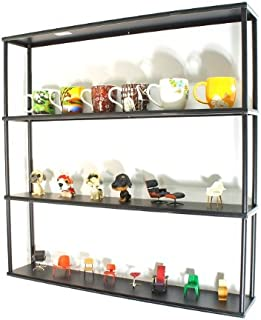 Mango Steam Wall-Mounted Steel Shelving Unit - 36 H x 36 W x 6 D Inches- Black - for Kitchen, Storage, or Display Use.