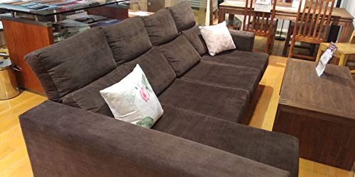 Mueble Sofa ChaiseLongue, MONTADO DE FABRICA Y Subida Domicilio, 4 plazas, Color Marrón, cheslong ref-73e