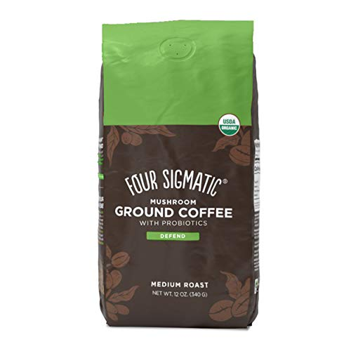 Four Sigmatic Mushroom Ground Coffee with Probiotics, Organic and Fair Trade Coffee with Turkey Tail, Chaga, prebiotics, & CFU shelf-stable, heat resistant probiotics, Immune Support, 12 Oz
