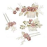 STOBOK Juego de 4 peinetas para el pelo de novia con flores rosas y perlas de cristal para el pelo de novia, accesorios de novia para mujeres y niñas (rosa)