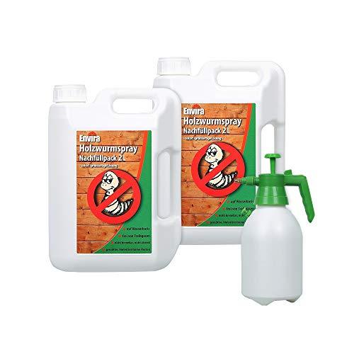 Envira Holzwurm-Spray - Holzwurm Ex Gegen Holzschädigende Insekten - Langzeitschutz & Wasserbasis - 2 x 2L + Sprüher