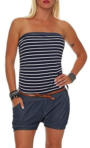 Malito Damen Einteiler kurz im Marine Design | Overall mit Gürtel | Jumpsuit im Jeans Look | Romper - Playsuit 9646 (dunkelblau)