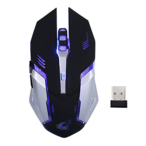 Lancoon Wireless Rechargeable Gaming Mouse - USB Optical Mice with Silence Click, 3 Adjustable DPI, 6 Buttons, 7 Changing Breathing Backlight - GM07 Black