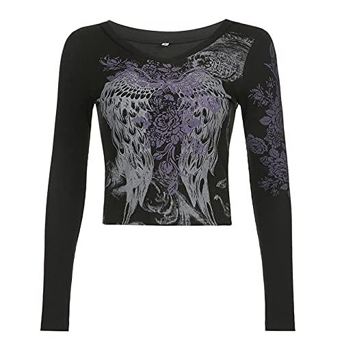 Yassiglia Sudadera de mujer corta camiseta casual de manga larga para mujer vintage Feather Wing Flower estampado cuello redondo Top, Negro , L