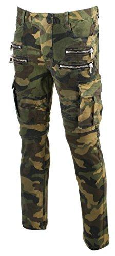 KooL J Mens Panel Biker Cargo Pocket Vintage Camoflage Cotton Denim Slim Jeans 31-slim32W x 32L Greyish Camo