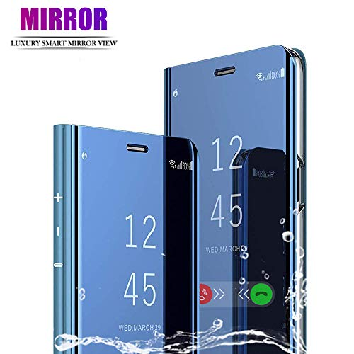 BOWFU Spiegel Hülle für Motorola Moto G9 Plus, Handyhülle Flip Cover Clear View Ultra Dünn Stoßfest Standing Bookstyle Hülle Slim Fit Schutzhülle für Motorola Moto G9 Plus - Blau