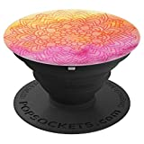 Mandala Watercolor Texture Henna Orange Hot Pink PopSockets Grip and Stand for Phones and Tablets