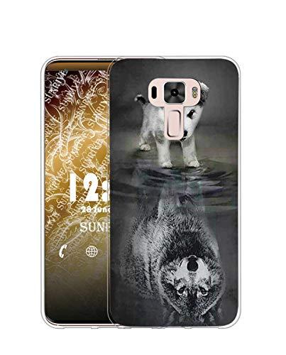Sunrive Kompatibel mit Asus Zenfone 3 ZE520KL Hülle Silikon, Transparent Handyhülle Schutzhülle Etui Hülle (TPU Wolf und H&)+Gratis Universal Eingabestift MEHRWEG