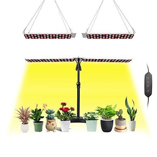 JCBritw LED Grow Lights with Stand Full Spectrum Grow Lamp 100W Desk Table Plant Light...