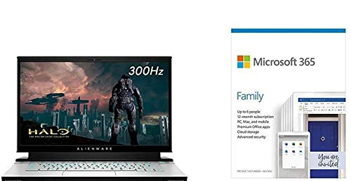 Alienware m15 R3 15.6' FHD 300Hz 3ms 300-nits Gaming Laptop, Intel Core i7-10750H, 32 + Microsoft 365 Family   6 Users   Box