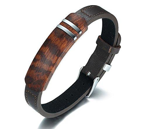 VNOX Herren echtes Leder Wristband Holz ID verstellbares Armband mit Gürtelschnalle High End Schmuck