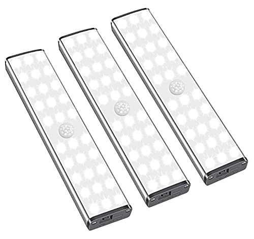 LED Schrankbeleuchtung mit Bewegungsmelder - 30LEDs Schranklicht, 3 Helligkeitsstufen, 3 Beleuchtungsmodi, USB Wiederaufladbar, Unterbauleuchte Nachtlicht für Küche/Kinderzimmer - 3 Pack