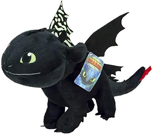 Playbyplay HTTYD Dragons, How to Tran Your Dragon 3 Plüschtier Toothless Night Fury, 30 cm, Schwarz