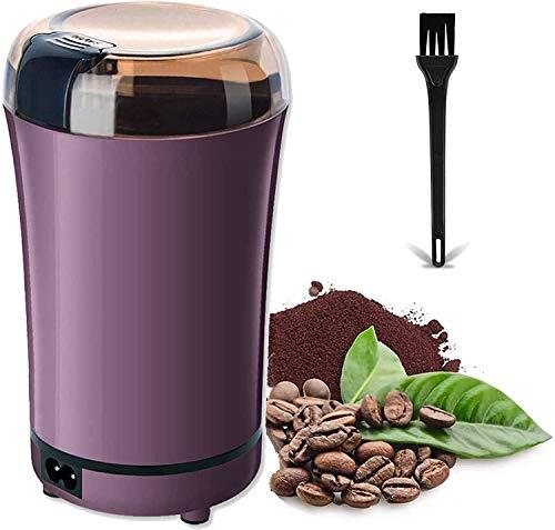 150W Molinillo Electrico, Molinillo de Café Eléctrico con Cuchillas de Acero Inoxidable, con Cepillo para Limpieza, Molinillo de Especias, Semillas, Frutos Secos o Granos,Púrpura