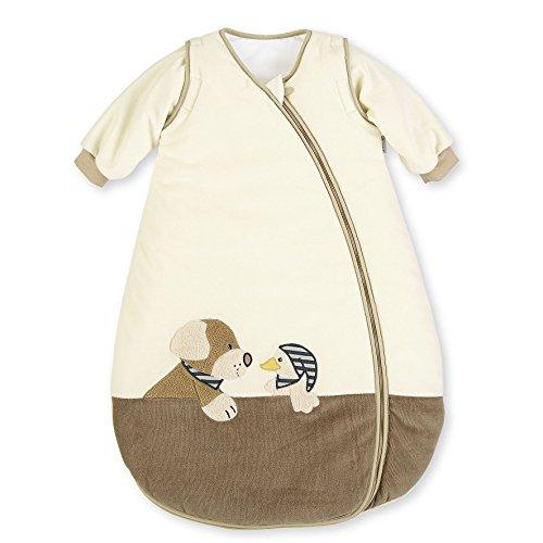 Sterntaler Schlafsack für Kleinkinder, Abnehmbare Ärmel, Wärmeregulierung, Reißverschluss, Größe: 110, Hanno, Crème/Braun