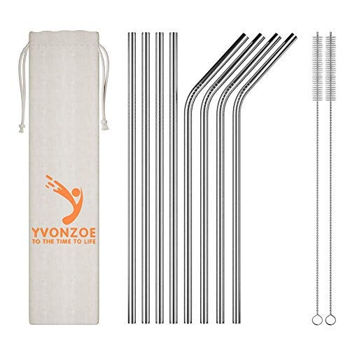 """Yvonzoe Metal Straws Stainless Steel Reusable Drinking Straws 8.5"""" x 0.24"""" for 20oz for Yeti Rtic Artic Ozark Tumblers ((4 Straight + 4 Bent + 2 Brushes) (Silver)"""