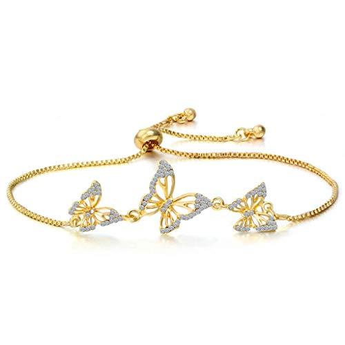 MGMDIAN Women's 3 butterfly Adjustable bracelet, Women Bracelets Birthday Wedding Gifts for Women Girls (18 cm) (Color : Gold)