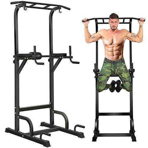 BangTong&Li Power Tower Workout Pull Up & Dip Station Adjustable Multi-Function Home Gym Fitness Equipment (Black-st)