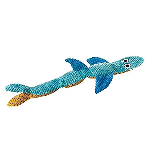 Stuffing Free Squeaking Plush Dog Toy Stuffing Free Floppy Shark by Petstages