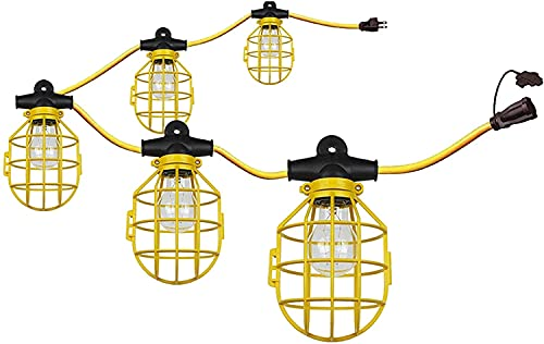 Ciata Lighting 100 Feet Commercial-Grade Cage String Light Plastic ,E-26 Medium Screw Base Socket ,75 Watt,120 Volts,14 Gauge Wire for Indoor/Outdoor use , ETL Listed in Yellow Finish