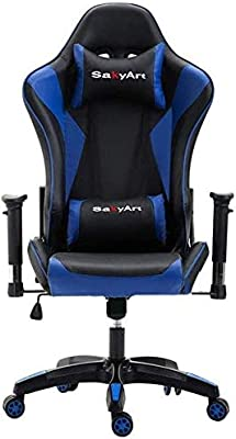 ZXCVB YouTube Equipment High-Back Gaming Chair with Tilt Function PU Leather Computer Desk Chair Office Swivel Chair with Headrest and Lumbar Support