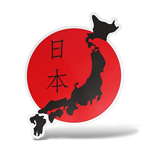 ERREINGE Sticker JAPAN FLAGGE SOL LEVANTE Aufkleber geformtes PVC für Abziehbild, Wand, Auto, Motorrad, Sturzhelm, Wohnmobil, Portable, Roller - cm 10