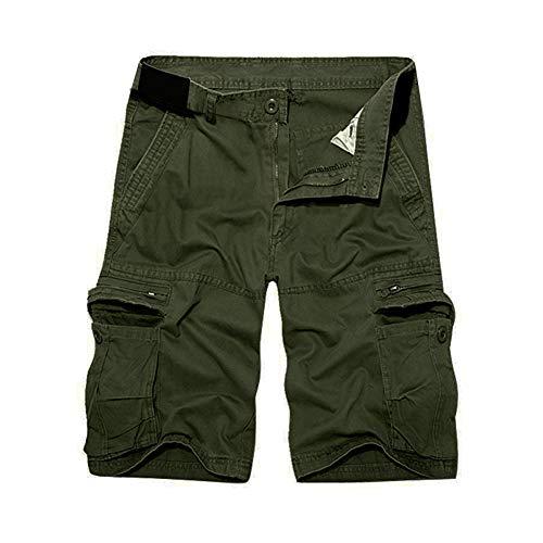 Herrbar Herren Cargo Shorts Baumwolle Bermuda Vintage Casual Kurz Hose (Army grün, W38)
