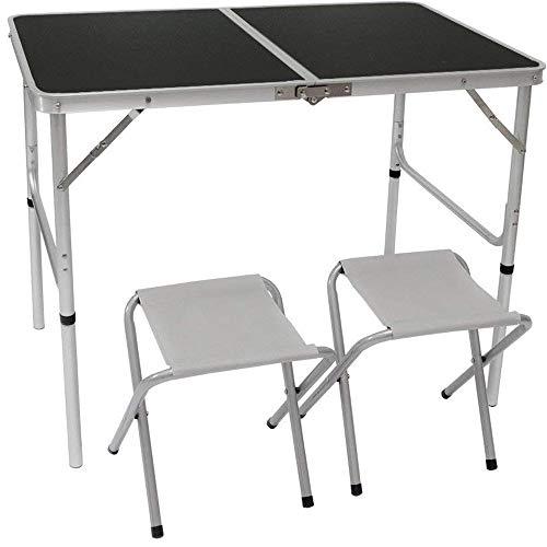 AMANKA Alu Campingtisch Set mit 2 Stühlen - 90x60cm Klapptisch - 2-Fach höhenverstellbarer Falttisch Anthrazit