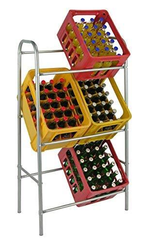Spetebo Kastenständer XXL für 6 Kisten - Farbe: Silber - Getränkekistenregal, Kistenständer