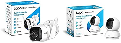 TP-Link TAPO Camara Vigilancia WiFi Exterior, 3MP Alta Resolución + Cámara IP WiFi 360º, Cámara de Vigilancia FHD 1080p, Visión Nocturna, Admite Tarjeta SD, Audio Doble Vía, Detección de Movimiento