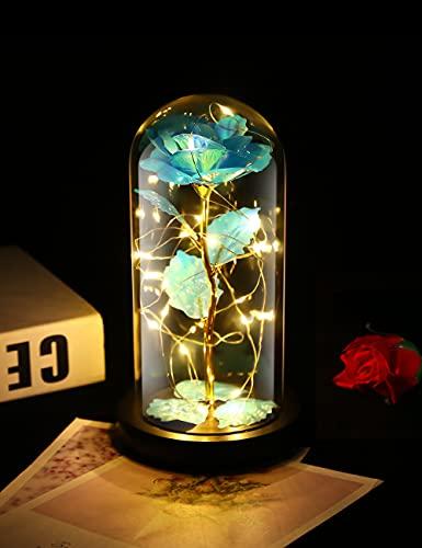 Rosa Eterna, Rosa Bella y Bestia, Gomyhom Galaxy Rosa, luz LED en Vidrio, Regalos Originales para Día de San Valentín, el Día de Madre, Mujer Novia Esposa, Cumpleaños Regalo (Azul)