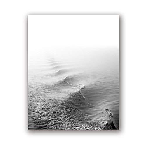 AdoDecor Póster de Arte Moderno con Estampado de océano en Blanco y Negro, decoración artística de Pared, Imagen de fotografía de Olas Marinas, decoración del hogar, 50x72 cm sin Marco