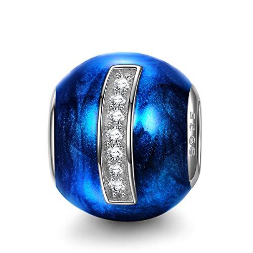 NINAQUEEN Charm para Pandora Charms Originales Plata 925 Letra I Azul Colgantes Regalos Mujer Zirconia Esmalte Abalorios Compatible con Pulsera Pandora & Europeo, con Caja de Regalo