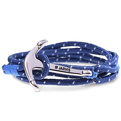 Patrick Tausendwasser - Captain Jarvis Anker Armband für Männer & Frauen - maritimes Ankerarmband inkl. Beutel Geschenkverpackung - Model Capetown in blau silber