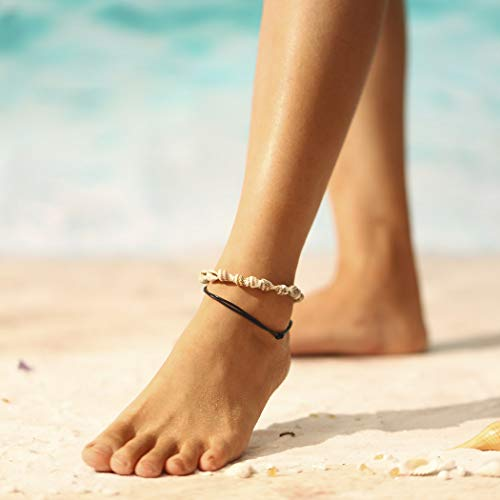 Yean Layered Sea Snail Anklet Conch Ankle Bracelet Black Leather Corp Cadena de pie para mujeres y niñas