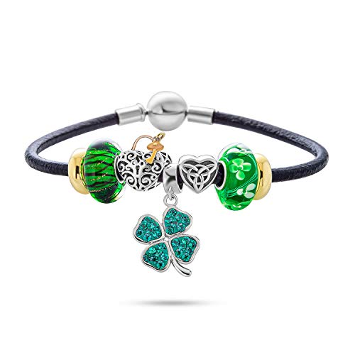 Celtic Lucky Clover Green Shamrock Irish Knot Claddagh Bead Starter Multi Charm Bracelet Genuine Black Leather For Women Teens .925 Sterling Silver European Barrel Snap Clasp