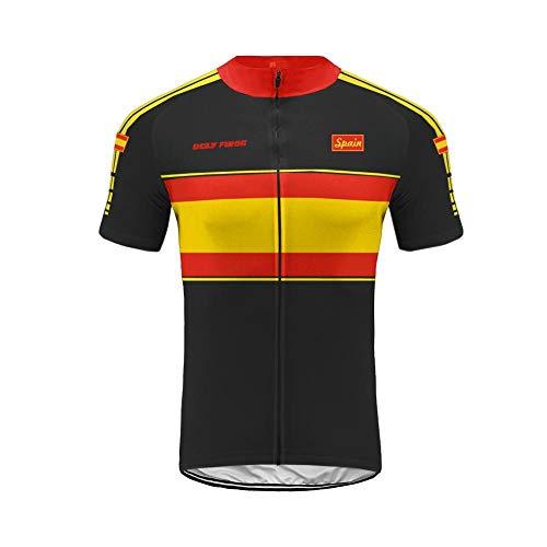 Uglyfrog Equipo de España Verano Hombre Cycling Jersey Maillot Ciclismo Mangas Cortas Camiseta de Ciclistas Ropa Ciclismo TGQX03