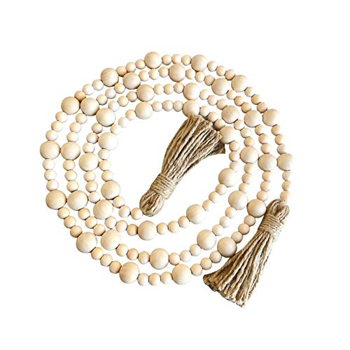 Wood Beads with Tassels Farmhouse Decoration Prayer Bead Garland Farmhouse Rustic Country Beads with Jute Rope Tassel Natural Wooden Beads for Spring Party Home Décor 88/118 Inch