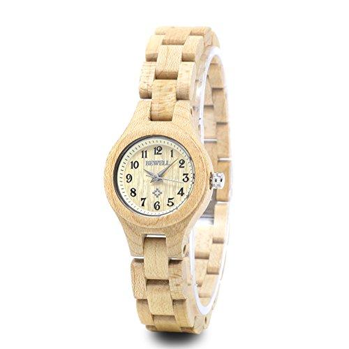 Bewell–Reloj pequeño dial pulsera de las mujeres reloj de pulsera, reloj Casual cuarzo de artesanía de madera de arce (Slim) w123a