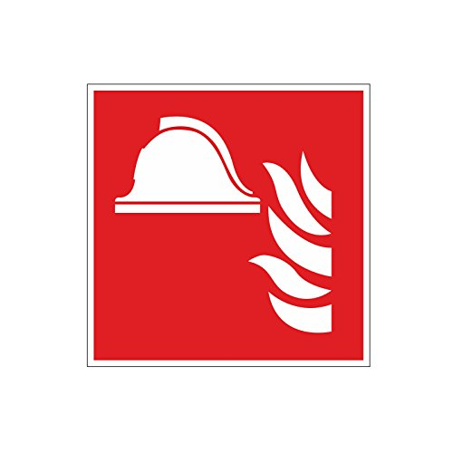 """Brandschutzaufkleber \""""F004: Mittel und Geräte zur Brandbekämpfung\"""", 10x10cm, Art. hin_160, DIN EN ISO 7010, Hinweis, Achtung, Warnhinweis, Brandschutz, Mittel und Geräte zur Brandbekämpfung"""